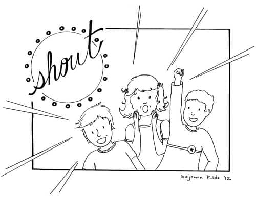 Shout Coloring Page for Kids