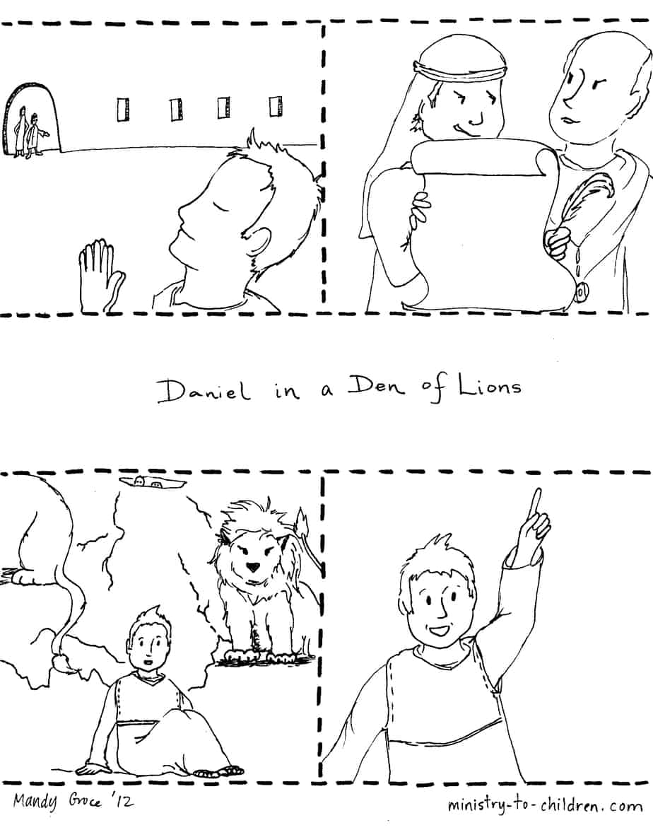 quotDaniel and the Lionsquot Coloring Page