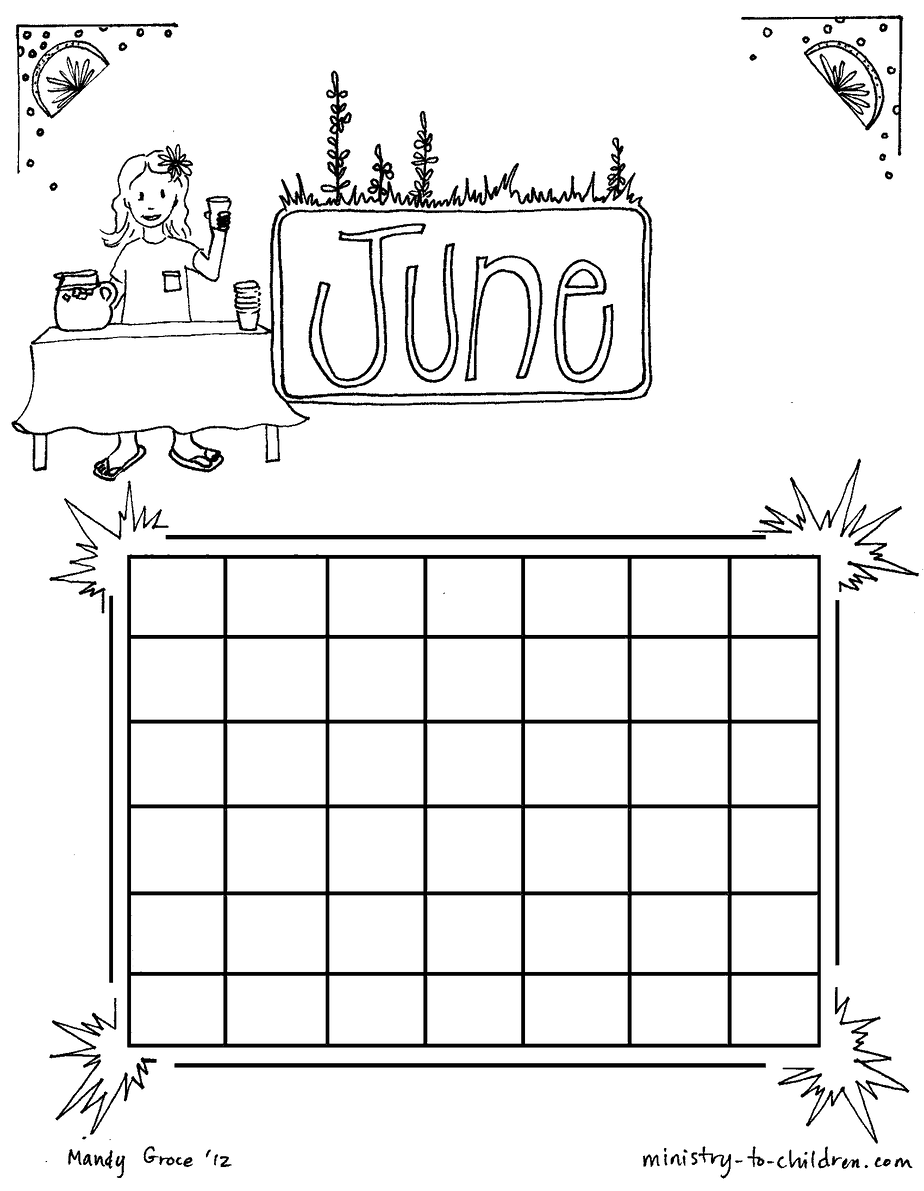 June coloring sheet calendar for kids for Calendar coloring page