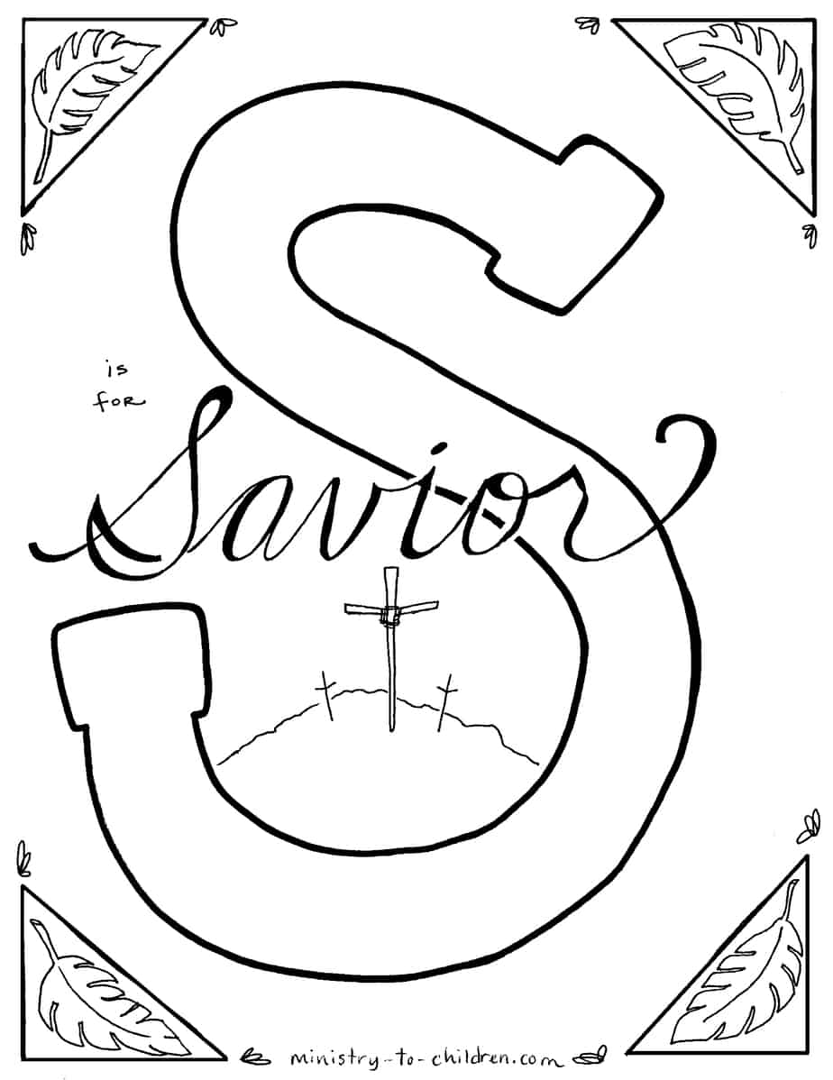 S Is For Savior Bible Alphabet Coloring Page