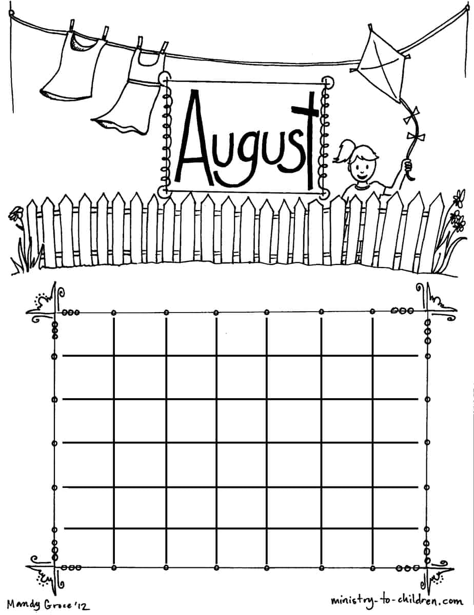 August coloring sheet calendar for Calendar coloring page