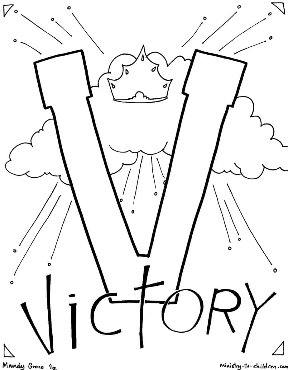 V Is For Victory Bible Alphabet Coloring Page