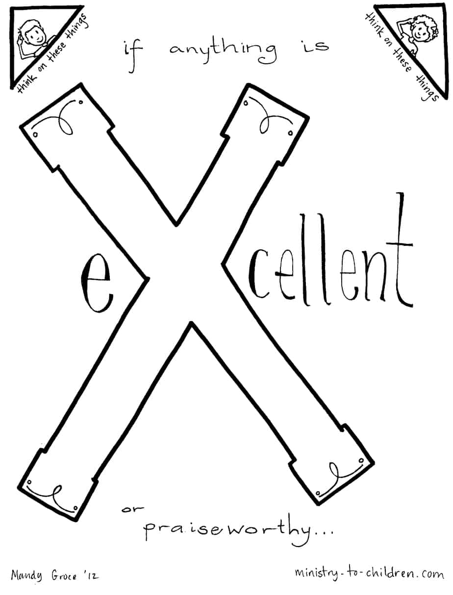 X Is For EXcellent Bible Alphabet Coloring Page