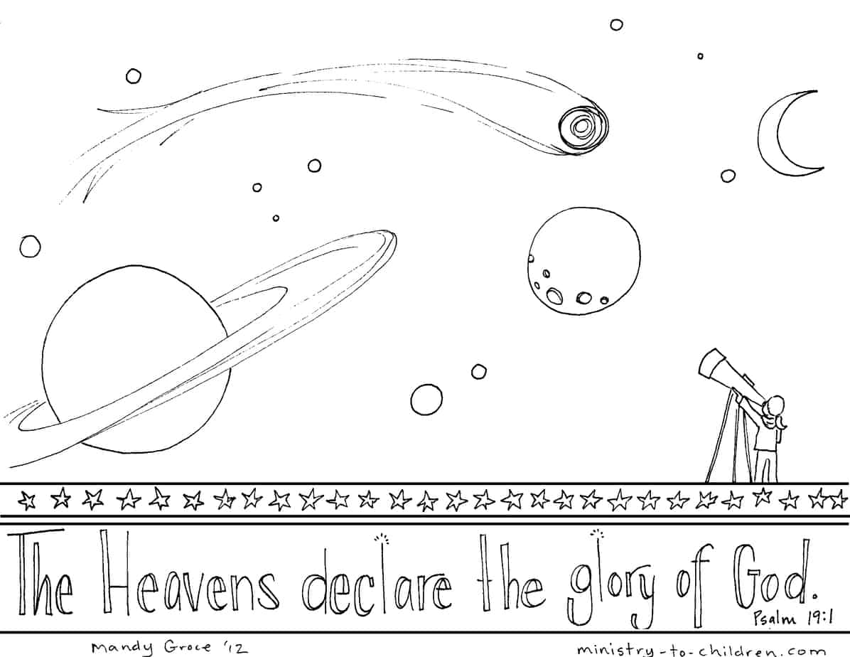 psalm 19 coloring page heavens declare the glory of god. Black Bedroom Furniture Sets. Home Design Ideas