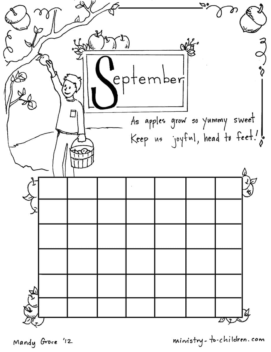 September Coloring Sheet Calendar