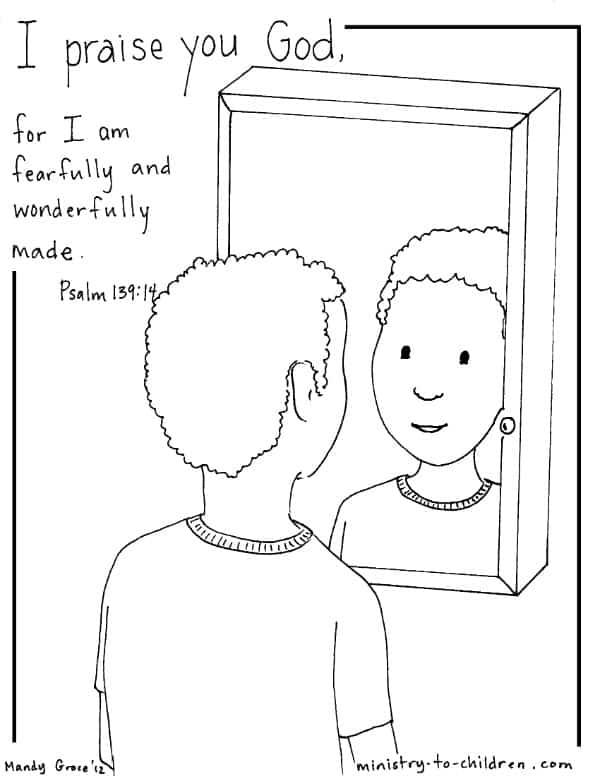 Psalm 139:14 Coloring Page (Boy Version)   Ministry-To ...