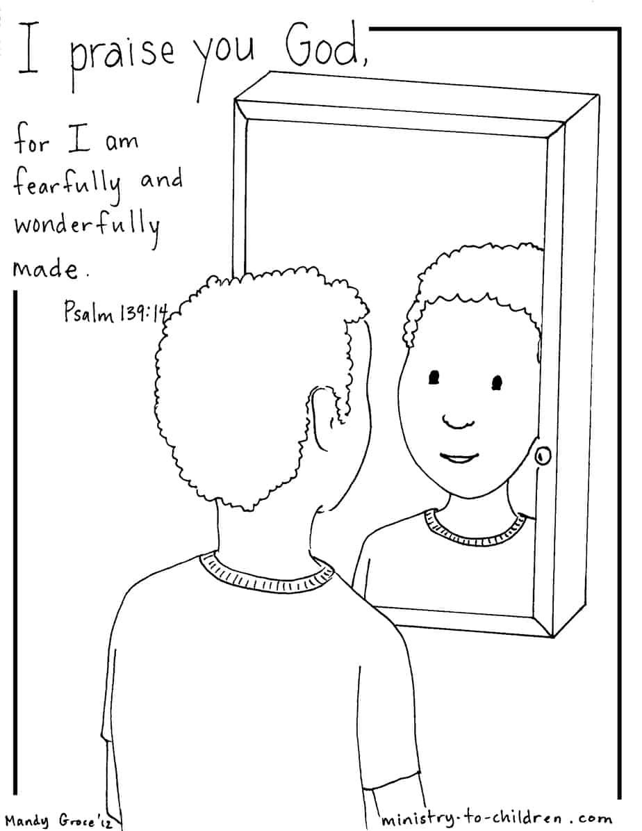 Psalm 139 14 Coloring Page Boy Version Ministry To Children