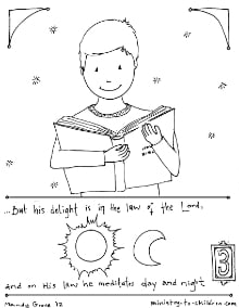 Delight in the law of the lord psalm 1 2 coloring page for Psalm 139 coloring page