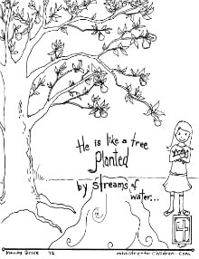 """""""Planted by Streams of Water"""" Pslam 1:3 Coloring Page ..."""