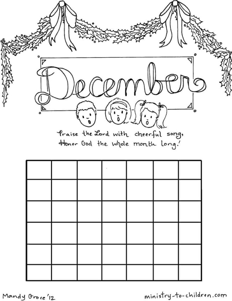Month of December coloring page
