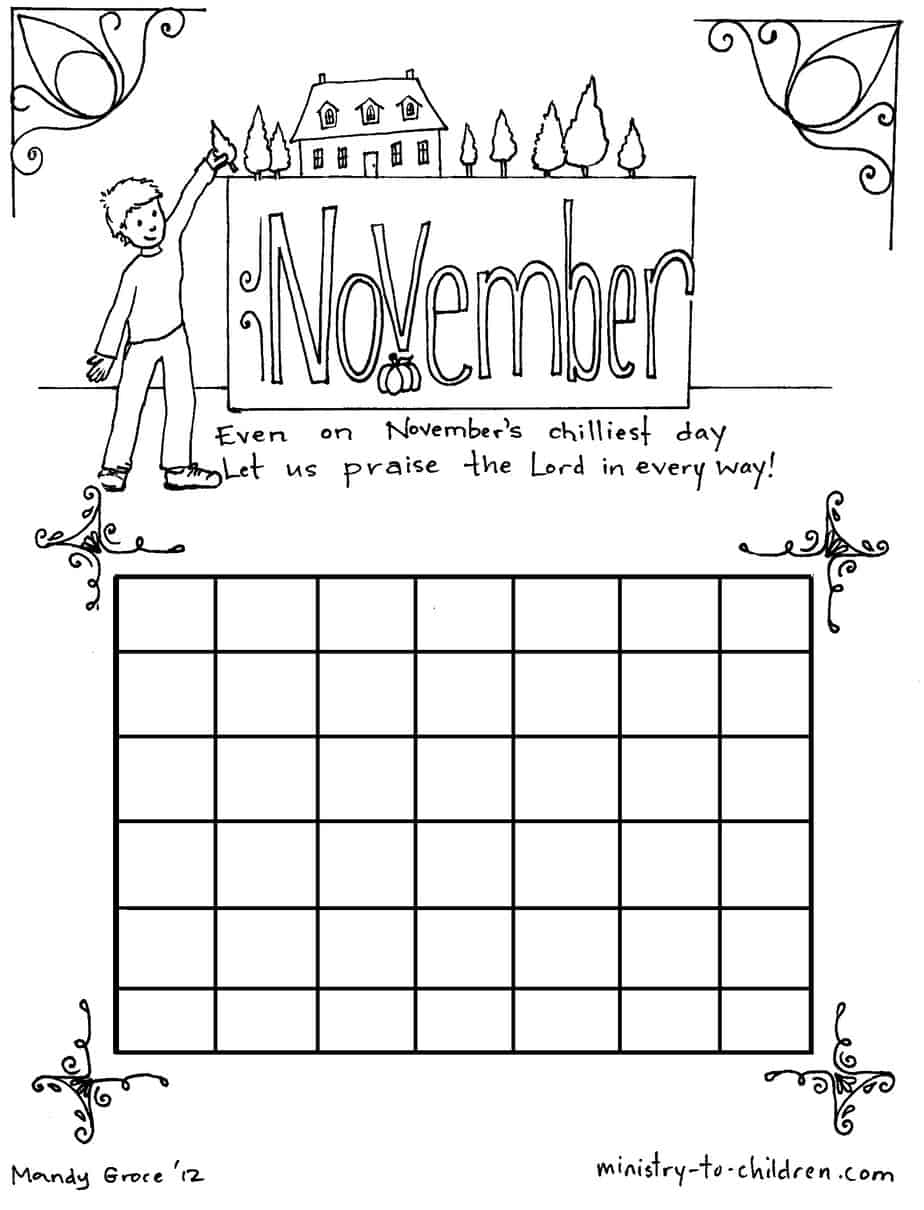 Free Coloring Pages Of November Calendar November Coloring Page