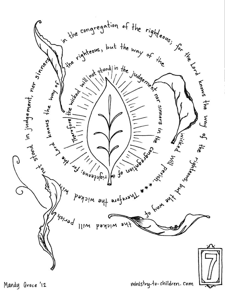 """""""The Way of the Righteous"""" Psalm 1:5,6 Coloring Page ..."""