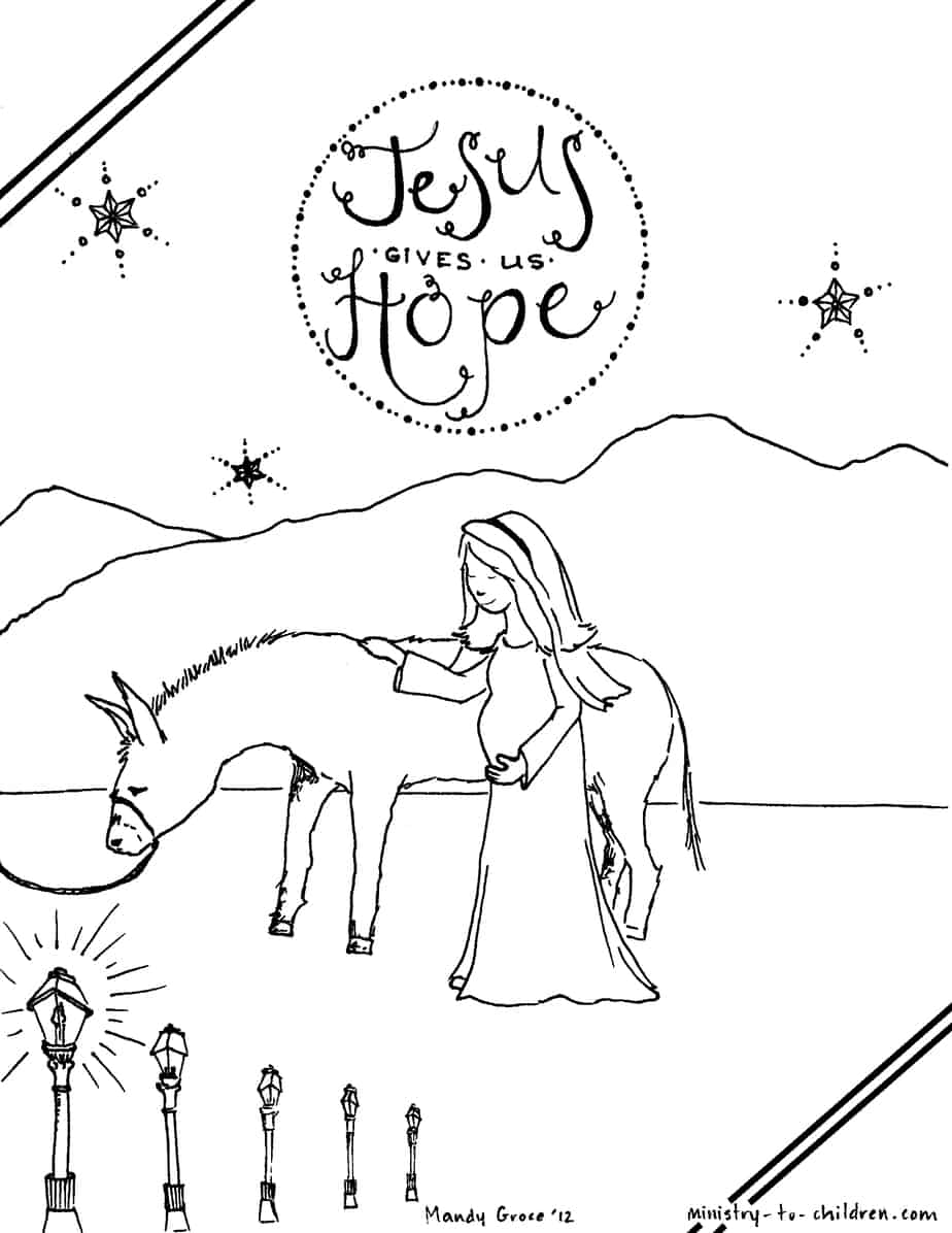 ministry to children coloring pages - mary traveling to bethlehem coloring page