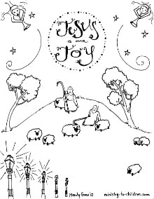 Shepherds in the fields coloring sheet for Angels announce jesus birth coloring pages