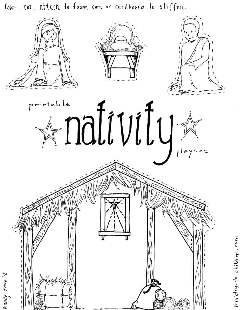 Nativity Manger Coloring Page