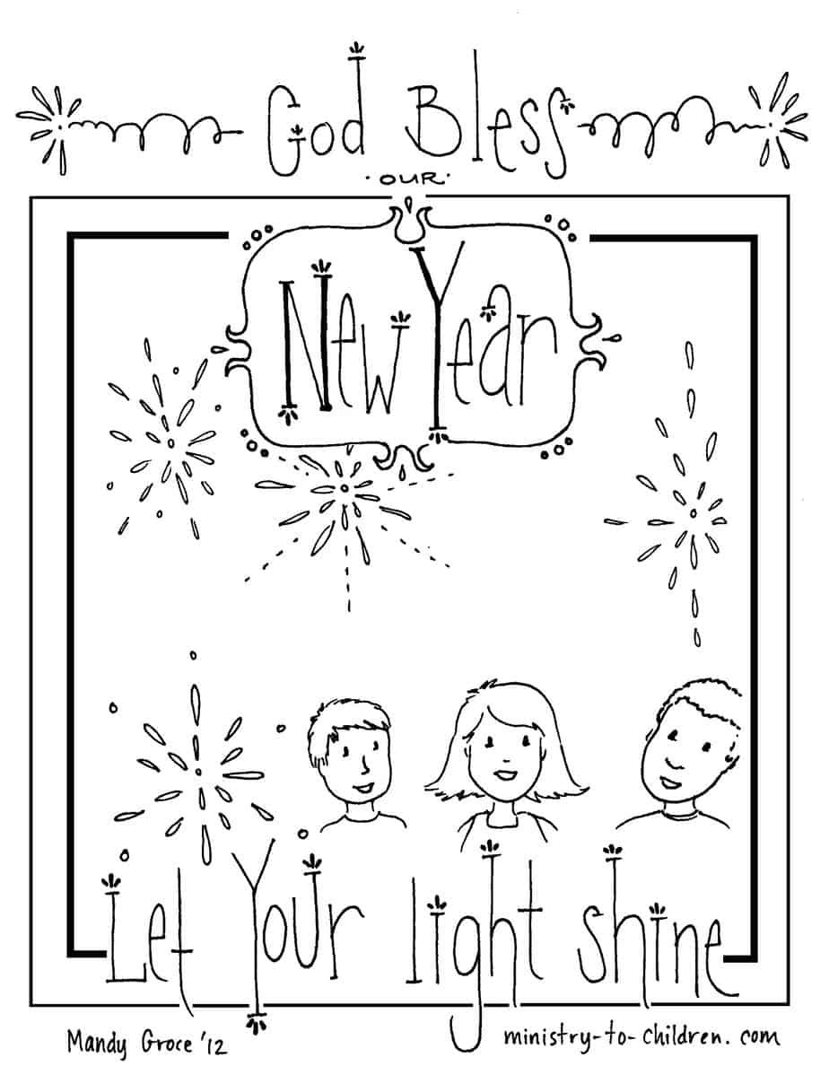 "new year coloring pages 2013 | New Year's Coloring Page 2020 ""Let Your Light Shine"" (Free ..."