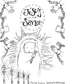 """""""Baby Jesus"""" is our Savior Coloring Page for Advent"""