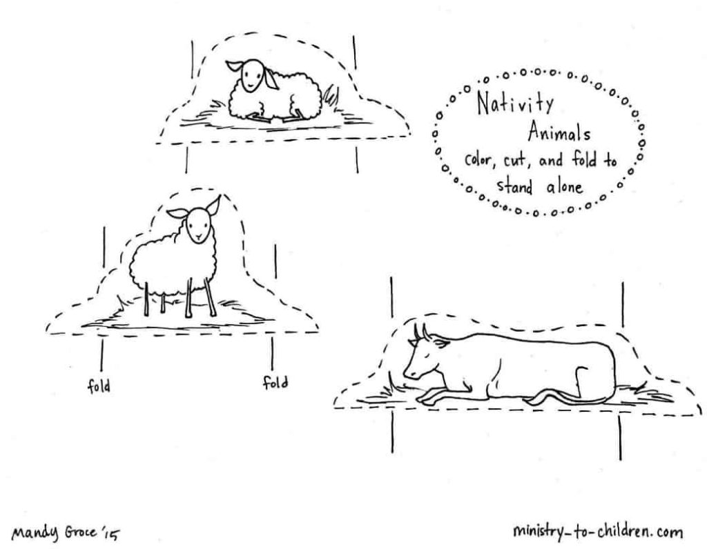 nativity animals coloring pages-#9