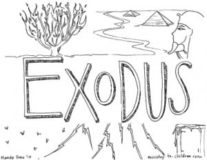"""""""Exodus"""" Bible Coloring Page"""