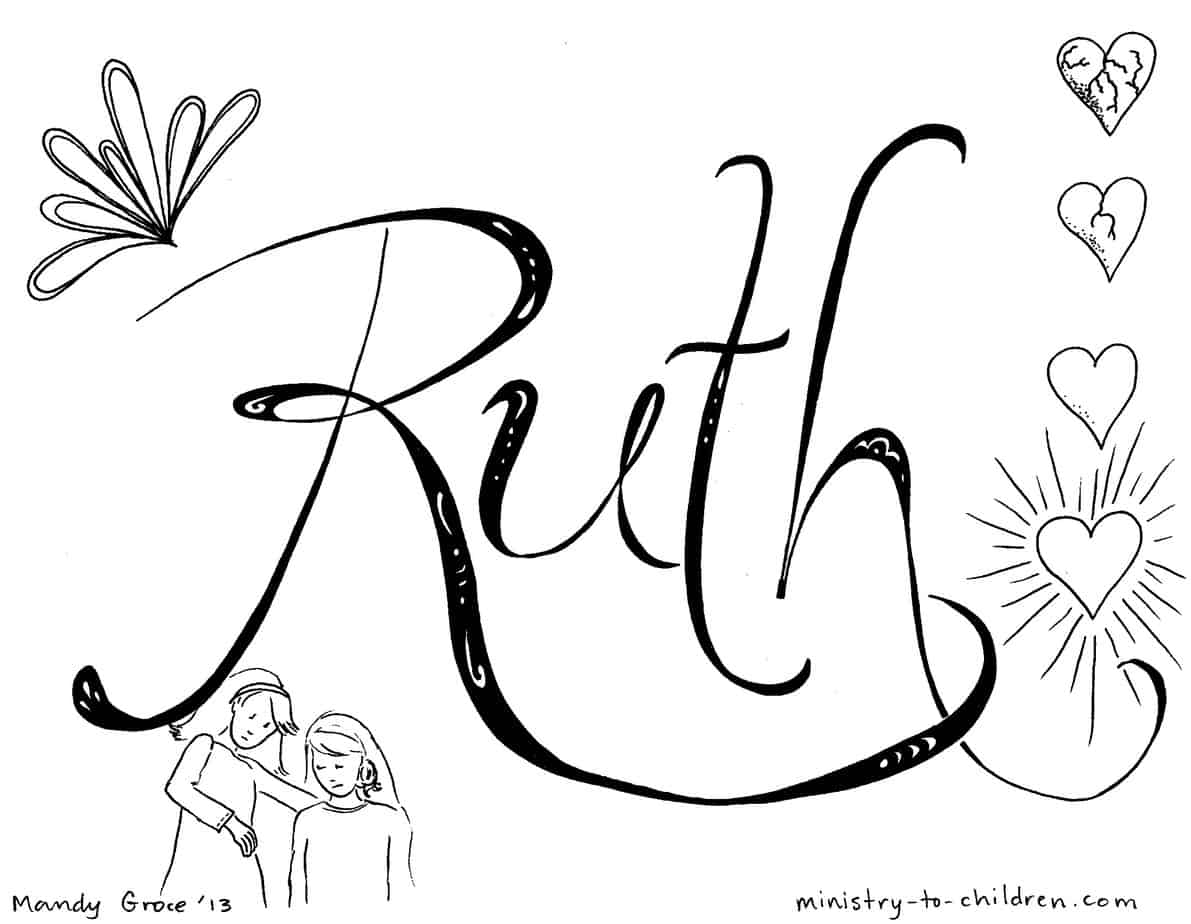 This is a graphic of Enterprising Ruth Coloring Page