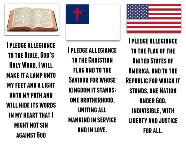 picture relating to Pledge of Allegiance in Spanish Printable named VBS Pledges (Simple Printable) Bible, American, Christian