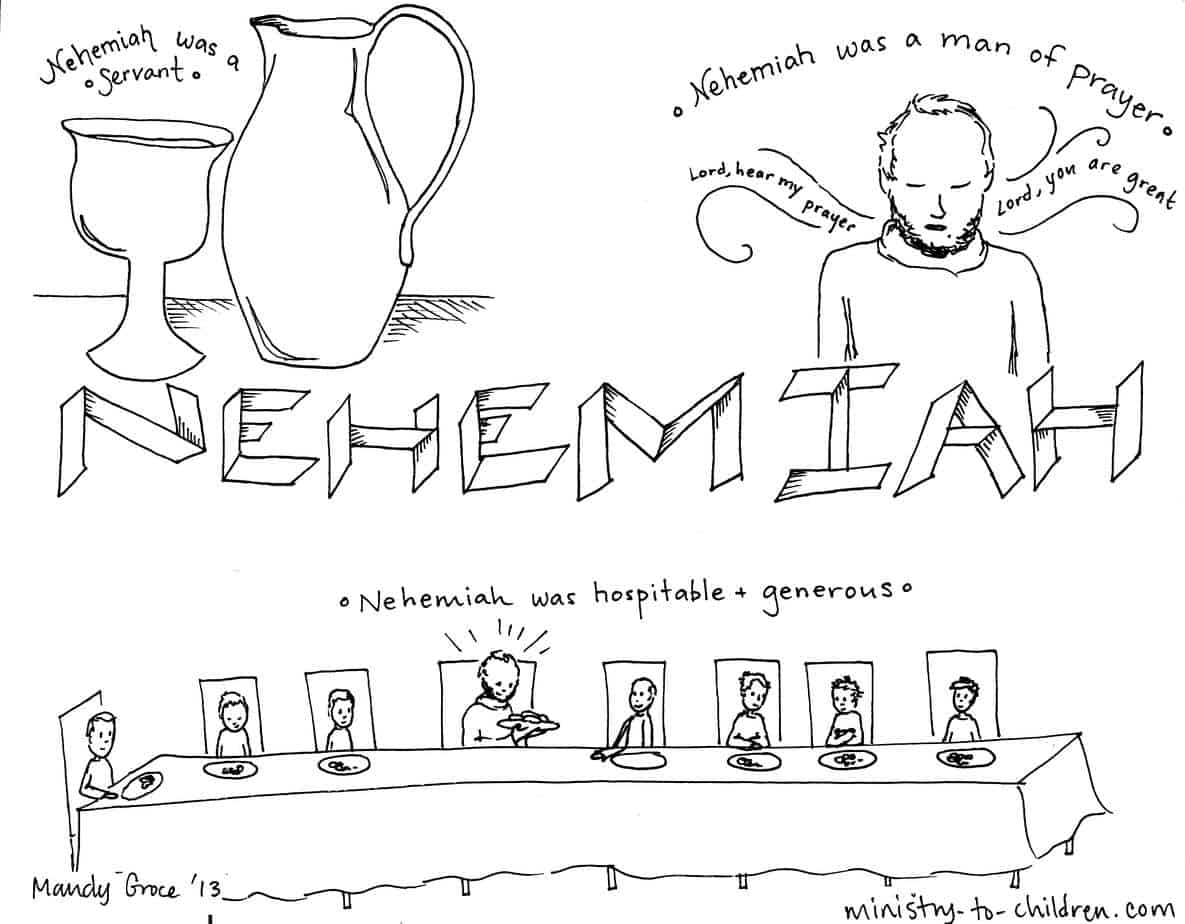"""nehemiah bible study for kids coloring pages 