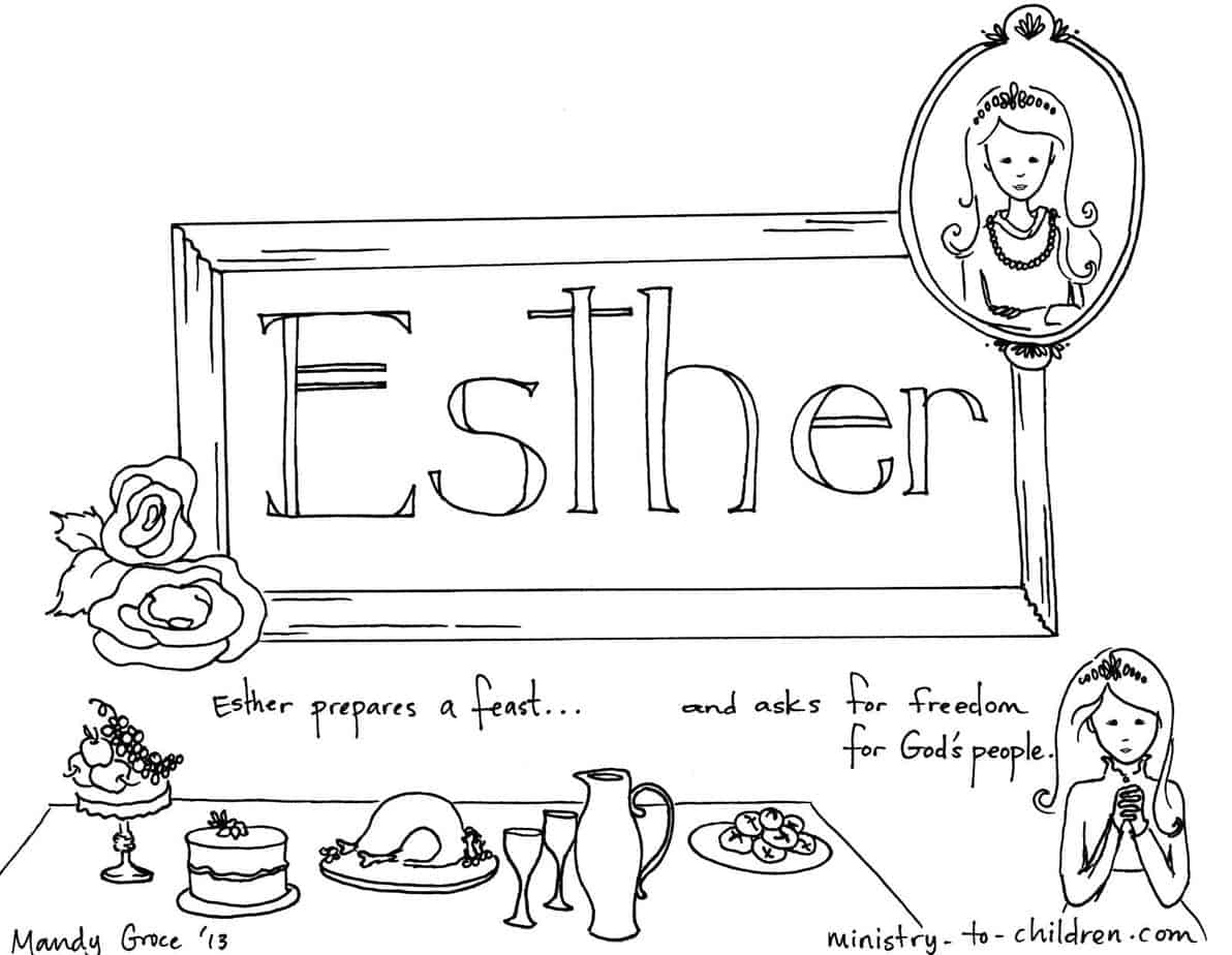 Book Of Esther Bible Coloring Page