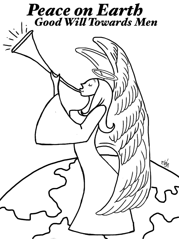 Christmas angel coloring page for Angels announce jesus birth coloring pages