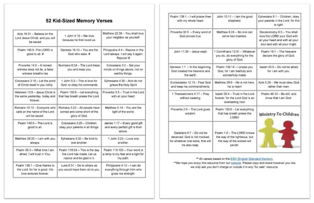 Bible Memory Verses for Kids