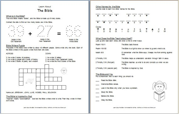 Worksheet: Learn about the Bible
