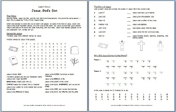 Jesus Gods Son Free Bible Worksheet About The Trinity