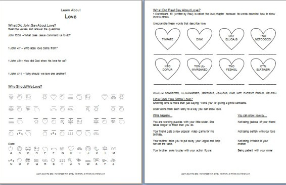 photograph about Printable Bible Worksheets identified as Study relating to Appreciate\