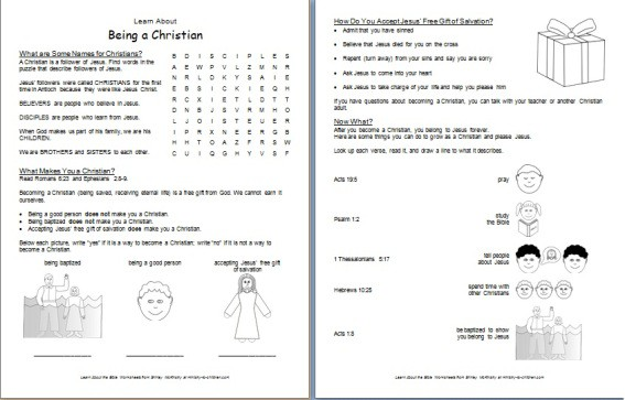 Worksheet: Learn about Being a Christian