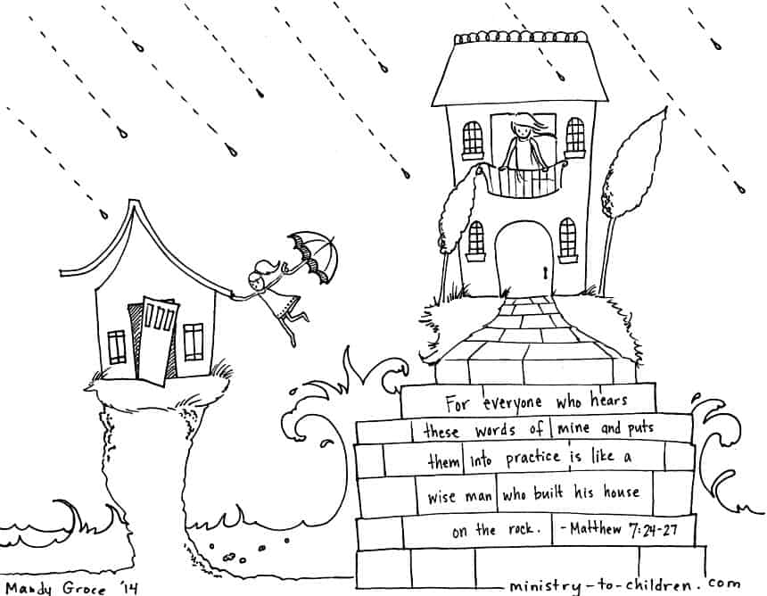 Wise And Foolish Builders Coloring Page Matthew 7 24 House