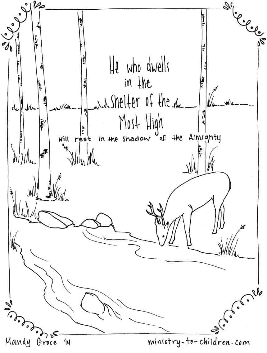 Psalm 91:1 Coloring Page