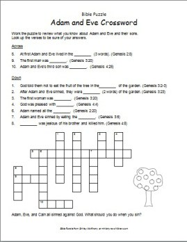 photograph about Bible Crossword Puzzles Printable With Answers known as Bible Puzzle: Adam and Eve Crossword - Ministry-Toward-Youngsters