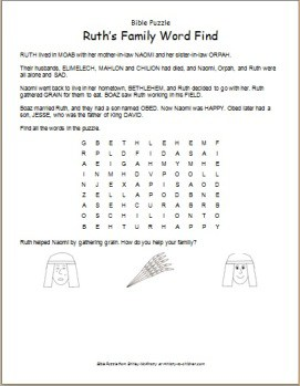 Bible Puzzle: Ruth's Family Word Find