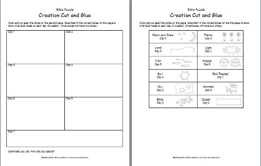 Bible Puzzle: Creation Cut-and-Glue Printable