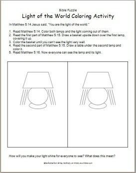 Bible Puzzle: Light of the World Coloring Activity