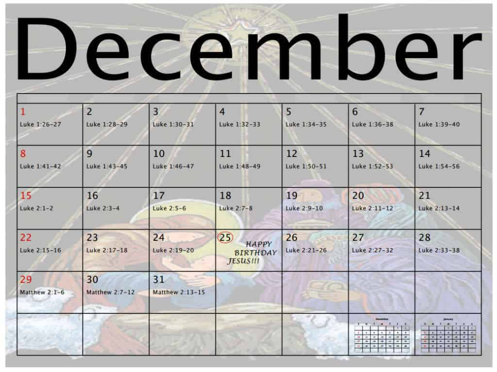 Bible reading calendar for December