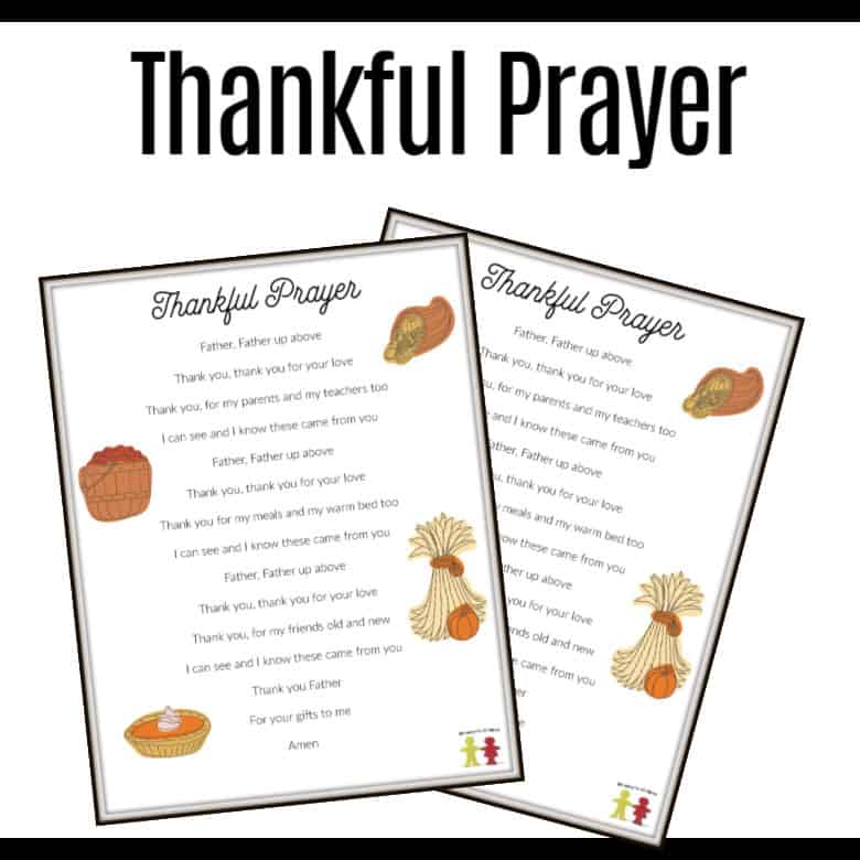 children's prayer of thanksgiving - printable pray thank God for kids
