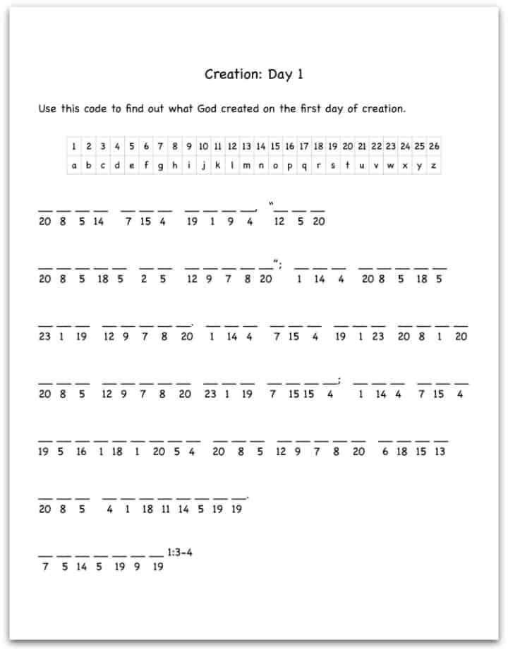 Creation Day 1 Bible Verse Decoding Worksheet - Ministry-To ...