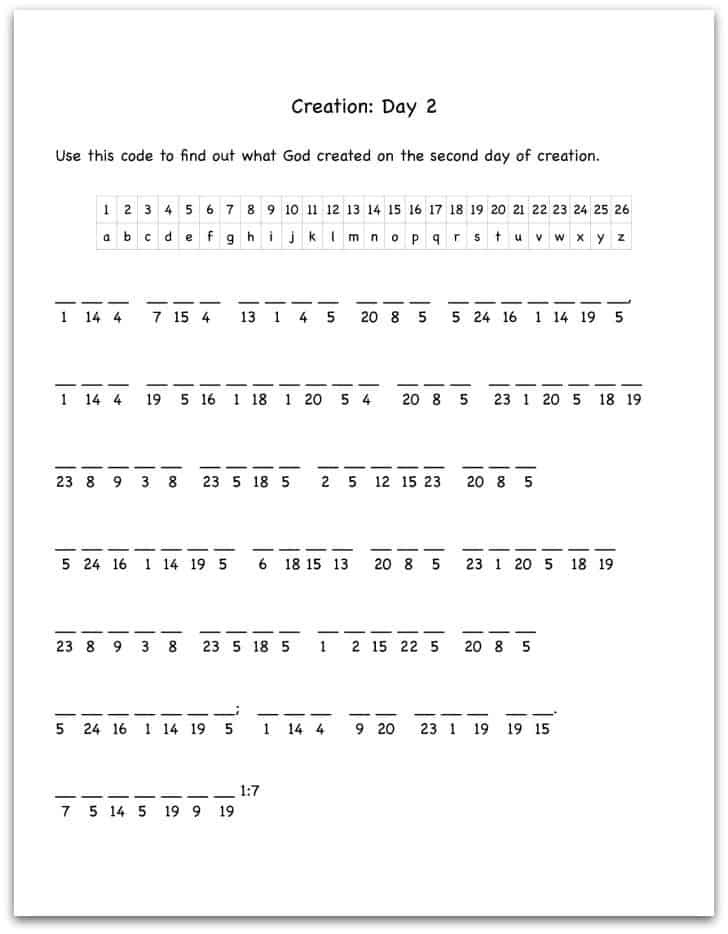 Creation Day 2 Bible Verse Decoding Worksheet - Ministry-To ...