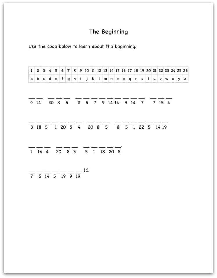 Genesis 1:1 Bible Decoding Worksheet - Ministry-To-Children