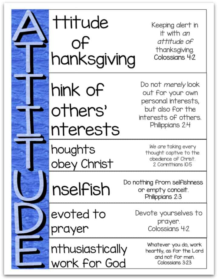 Attitude Is Important An Acrostic Bible Verse Poem