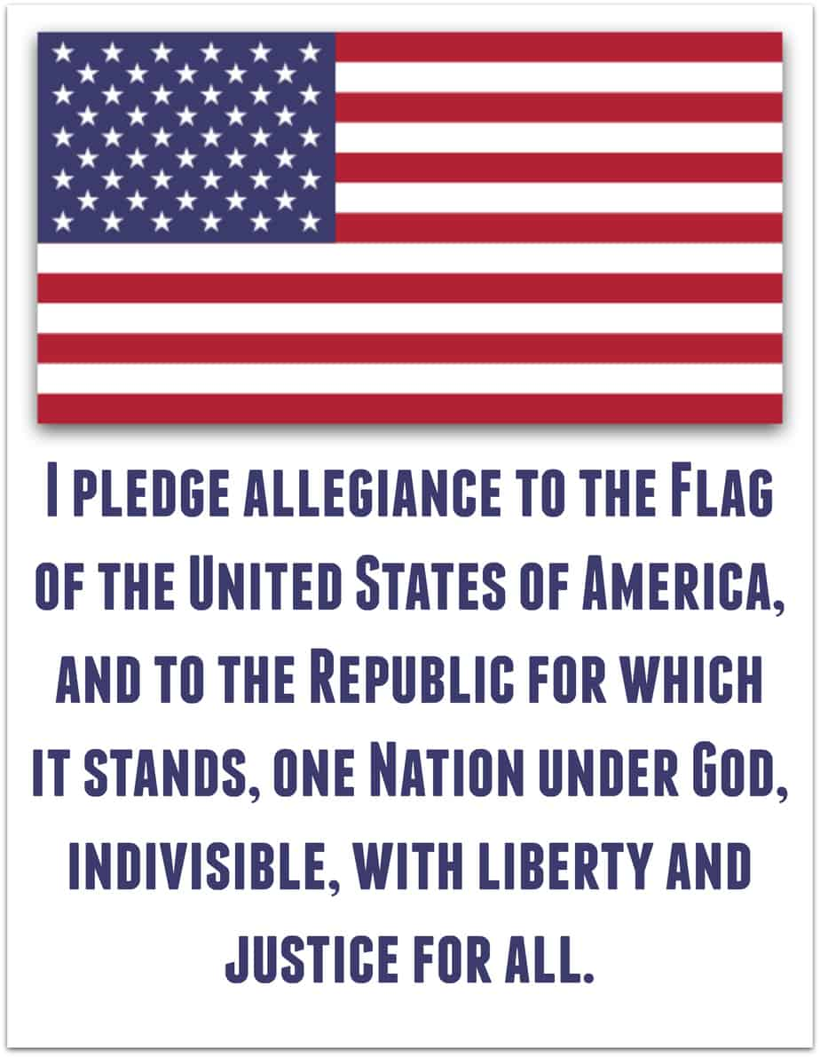 Pledge Of Allegiance To The American Flag Free Printable
