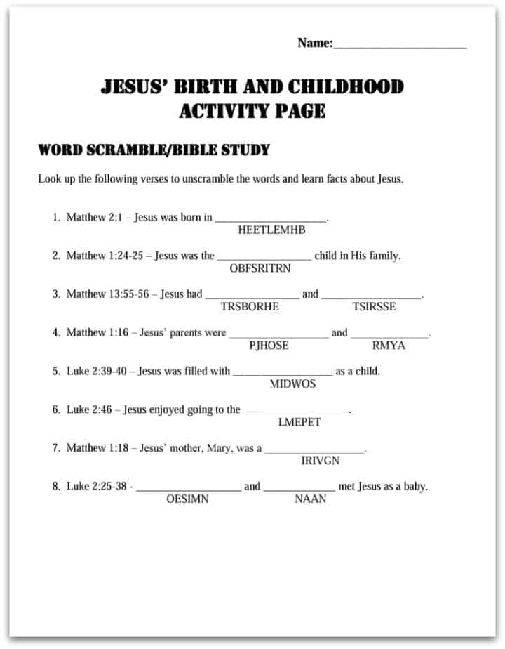 Lesson: Jesus' Birth and Childhood (Servanthood for Kids #2)