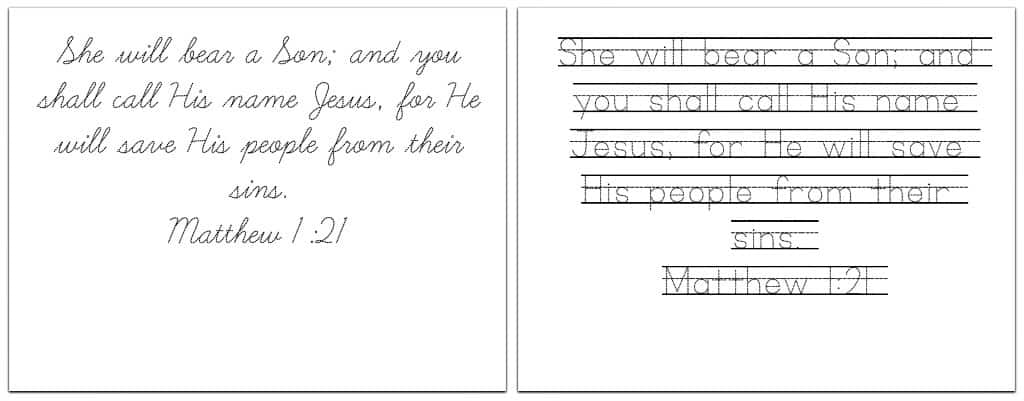 printable handwriting practice sheets with 8 christmas bible verses ministry to children. Black Bedroom Furniture Sets. Home Design Ideas