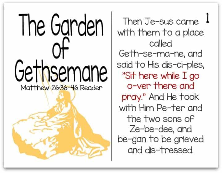 Printable Resurrection Story (Part 5 of 7) The Garden of Gethsemane (Matthew 26:36-46)