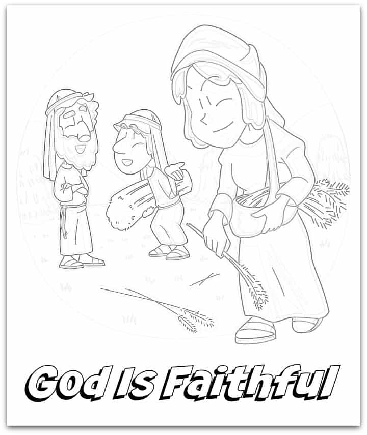 Free Coloring Page - Ruth, Naomi, and Boaz gleaning in the fields